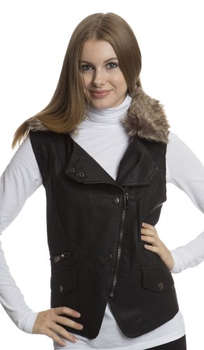 (7625) Dollhouse Faux Leather Zip and Snap Front Motocycle Vest with Faux Fur Collar in Black Size: ..