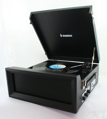 Steepletone SRP1R-11 1960 's/1970 's Retro Style 3 Speed Record Player with Radio - Black Black Friday & Cyber Monday 2014