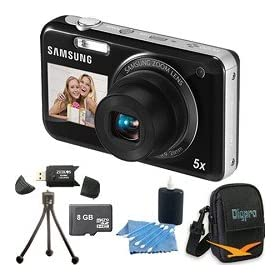 Samsung PL120 14MP Dualview Black Digital Camera, Dual LCDs, 5x Wide-Angle Zoom Lens, HD Video, Image Stabilization. Bundle Includes 8 GB Memory Card, Card Reader, Deluxe Carrying Case, Mini Tripod, and 3Pcs. Lens Cleaning Kit.