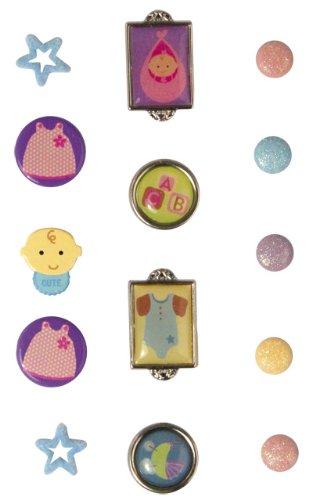 Rayher - 7924400 - tachuelas para el bebé, SB-tarjeta, 14 pcs, varios diseños
