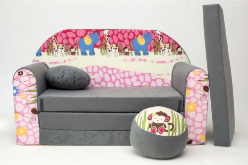 KIDS SOFA BED FUTON CHILDS FURNITURE+FREE POUFFE/FOOTSTOOL&PILLOW (A16)