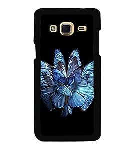 Printvisa Ultra Bright Blue Flower 2D Hard Polycarbonate Designer Back Case Cover for Samsung...