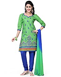 Saree Swarg Green and Blue Cotton Dress Material