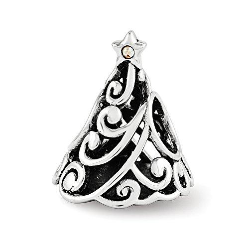 Swarovski Elements Filigree Christmas Tree Charm in Sterling Silver