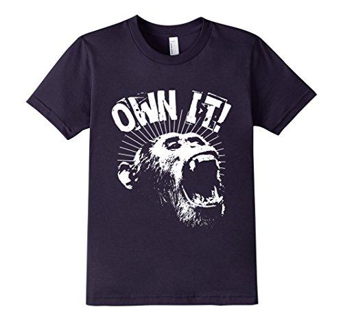 Kids-EmmaSaying-Own-It-Roaring-Gorilla-Ape-Monkey-Cool-T-Shirt-Navy