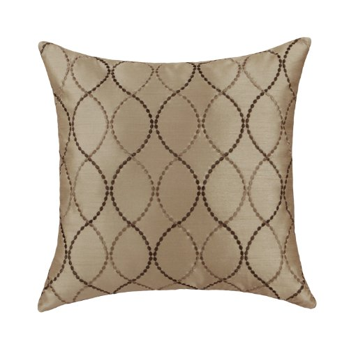 "Euphoria Contempo Decorative Throw Pillow Cushion Covers Pillowcase Shell Faux Silk Taupe Waves Embroidery 18"" X 18"" front-522484"