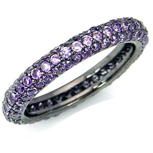 Amethyst Purple CZ Sterling Silver Eternity Band Stack/Stackable Ring Size 8.5