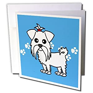 gc_10821_1 Janna Salak Designs Dogs - Cute White Maltese Blue with Paw Prints - Greeting Cards-6 Greeting Cards with envelopes