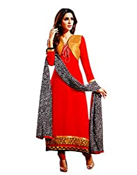 Zerel Womens Georgette Straight Dress Material (Ze-747 _Red _Free Size)