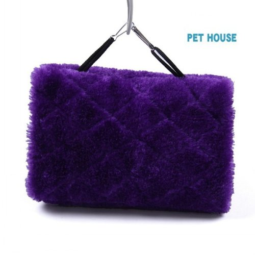 M Size Purple Bird Hammock Hanging Cage Plush Snuggle Happy Hut Tent Bed Bunk Parrot Toy front-94683