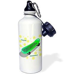 3dRose wb_1304_1 Skateboard Sports Water Bottle, 21 oz, White