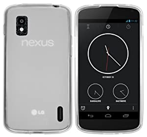 mumbi TPU Skin Case Google Nexus 4 Silikon Tasche Hülle - Silicon Protector Schutzhülle transparent weiss