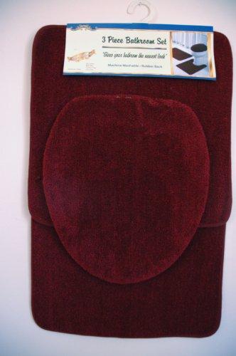 Burgundy 3 Piece Bathroom Set 1 Bath Mat Rug 1 Contour