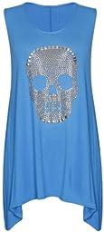 PurpleHanger Women\'s Stud Skull Hanky Vest Tee Top Plus Size Turquoise 18-20