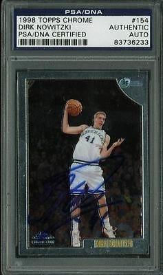 Mavericks Dirk Nowitzki Signed Card 1998 Topps Chrome Rc #154 Slabbed - Psa/Dna Certified - Nba Slabbed Rookie Cards
