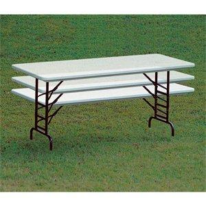 "Folding Table, Correll RA3072-39 30"" x 72"" Gray Granite Folding Adjustable Height Table - Bar Height"