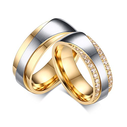 ROWAG 7MM Cubic Zirconia Stainless Steel Womens CZ Diamond Gold Plating Couple Wedding Rings for Him and Her Mens Promise Engagement Bands