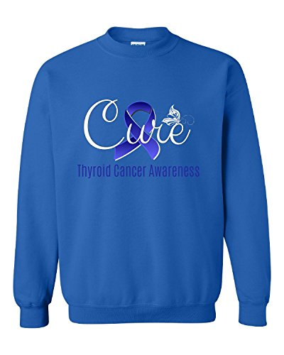 Cure Butterfly Thyroid Cancer Awareness With Blue Ribbon - Adult Sweatshirt (Thyroid Cancer Merchandise compare prices)