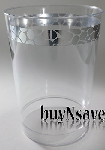 BuyNsave Clear with Silver Heavyweight Plastic Elegant Disposable Plates, Wedding Party Elegant Dinnerware, Hammered Collection (40, 10oz. Tumblers)
