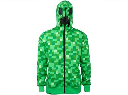 Minecraft Creeper Premium Zip-Up Green Jacket Hoodie Medium