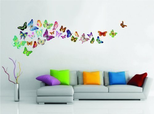 Walplus 30x60cm 34 Pieces Colorful Butterflies Wall Stickers art Paper Decal