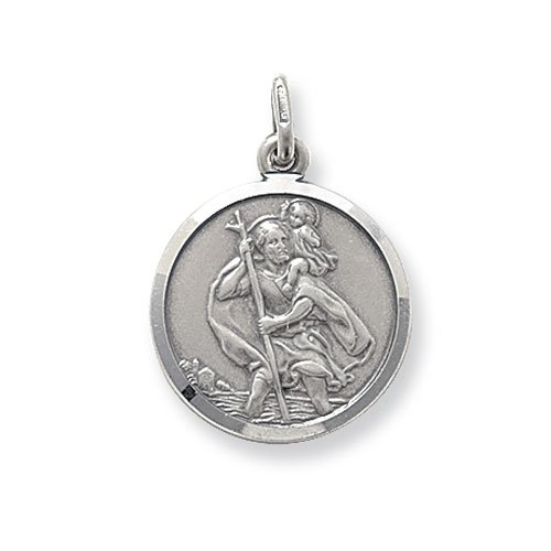 Mens Sterling Silver Medium Round St Christopher Pendant On A 16,18,20,22 or 24 Inch Black Leather Cord Necklace