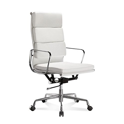 Artis Decor Soft Pad Low and High Back Executive Office Chair Made with Upholstered Genuine Italian Leather, Swivel and Polished Aluminium Frame - High Back White
