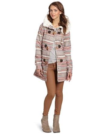 Roxy Juniors Chestnut Way Jacket, Cream Stripe, X-Small at