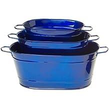 HIT Enameled Galvanized Metal Oval Planter, Glazed Blue, Set Of 3