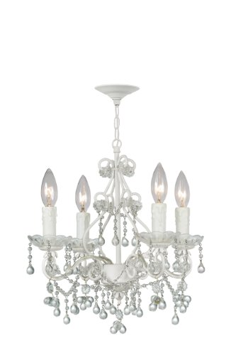 4514-WW-CLEAR Paris Flea Market 4LT Chandelier, Wet White Finish with Clear Murano Beads