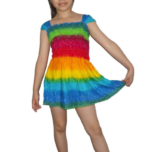 Girls Thai Exotic Gathered / Smocked Bodice Flowing Cap Sleeves Summer Dress - Size: 8