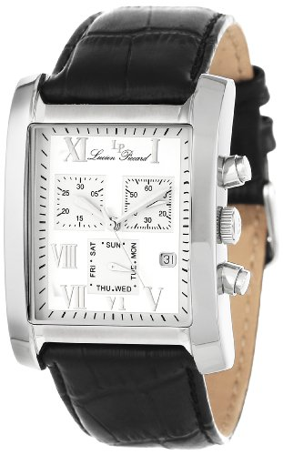 Lucien Piccard Men's 98041-02S Classico Chronograph Silver Dial Black Leather Watch