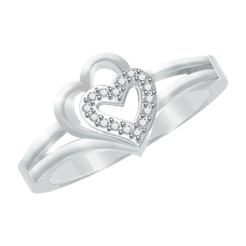 1/4 ct Natural Diamond Platinum Plated Sterling Silver Double Heart Promise Ring