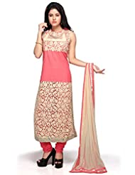 Utsav Fashion Women's Pink Cotton And Net Readymade Churidar Kameez-Medium