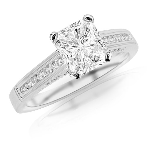 1.4 Carat Classic Channel Set Diamond Engagement Ring w/ Radiant Cut Center (J Color SI1 Clarity)