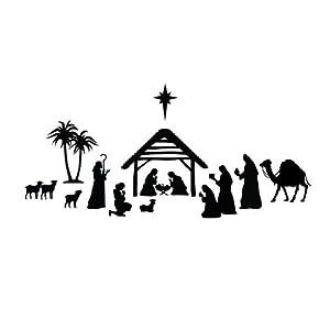 Amazon.com - Nativity Scene Silhouette - Vinyl Wall Art Decal for ...