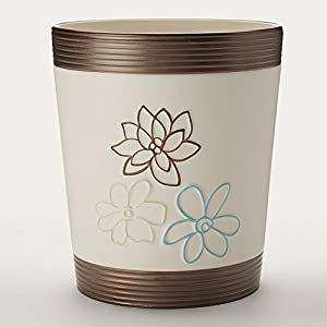 Elegant bath whimsy floral nature waste basket bathroom trash can home - Elegant wastebasket ...