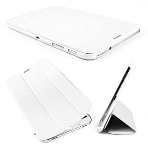 "Leather Case Smart Cover Stand Protector For Samsung Galaxy Tab 3 8.0 T310 T311 T315 Ultra 8"" inch Tablet PC thin / slim Auto wake up & sleep White"