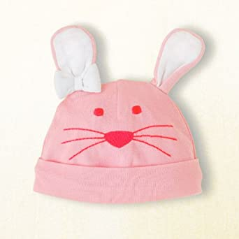Bunny Rabbit Knit Hat for Infants - Pink with White Ears - Easter