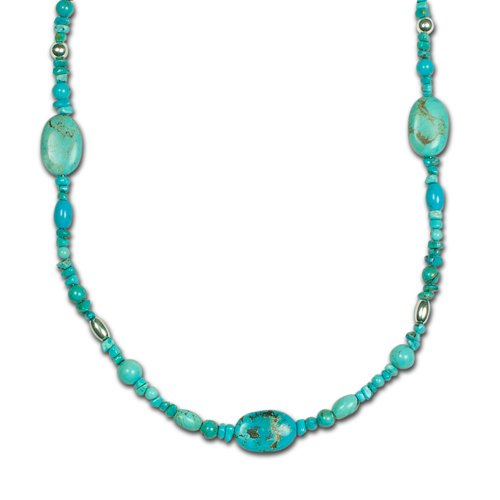 Sterling Silver Kingman Turquoise Long Beaded Station Necklace - 36