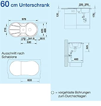 Blanco Cron 6 S Anthrazit Grau Auflage Granit-Spüle Spülbecken ...