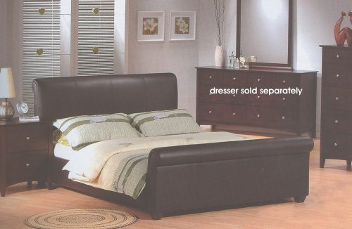 Milano Cappucino Black Bycast Leather Queen Size Sleigh Bed