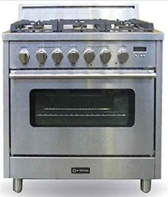 """VEFSGGL65E-LP Pro Series 35.88"""" Wide Pro-Style Liquid Propane Range 5 Sealed Burners 3.6 cu. ft. Oven Capacity Electronic Ignition Digital Clock and Timer:"""