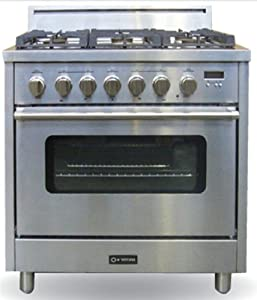 "Pro Series VEFSGEL65SS 36"" Single Oven Dual Fuel Liquid Propane Range 3.6 cu. ft. Oven Capacity 5 Sealed Gas Burners Electronic Ignition and re-Ignition: Stainless Steel"