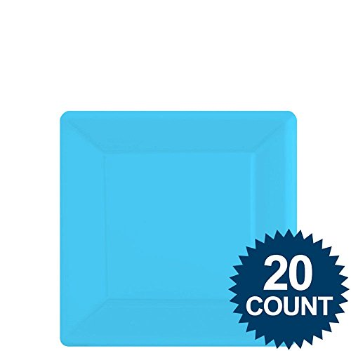Caribbean blue square paper dessert plates (20)