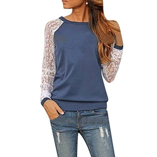 ZANZEA Women's Sexy Casual Lace Crochet Long Sleeve Crew Neck Tee Sweatshirt Blouse Top
