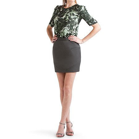 Brian Reyes Charcoal Silk Pencil Skirt