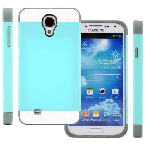 Celljoy Hybrid Tpu 2Pc Layered Hard Case Rubber Bumper For Samsung Galaxy S4 Siv (At&T / Verizon / Us Cellular / Sprint / T-Mobile / Unlocked) [Celljoy Retail Packaging] (Teal / Gray / White)