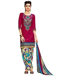 Inddus Women Magenta Embroidered Cotton Blend Dress Material