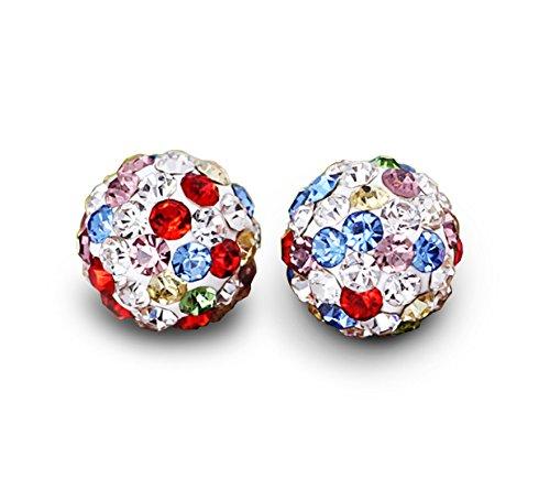 Orecchini a da donna con Sette tipi di miscelazione del colore elementi Swarovski cristallo argento 925 Orecchini
